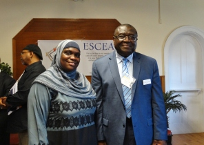 MSiA president Layla Abdullah-Poulos with ESC provost Alfred Ntoko
